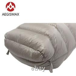 AEGISMAX Goose Down Sleeping Bag Mummy Ultralight Outdoor Camping Ultra Dry Grey