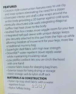 Big Agnes Thunderhead SL 30 Degree Sleeping Bag Mummy ZIPPERLESS 650 DownTek