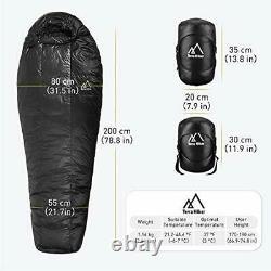 Down Sleeping Bag Outdoor Bag for Backpacking and Hiking, Lightweight 4 Season
