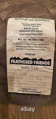 Feathered Friends Lark Sleeping Bag Long Length New Ultra Light