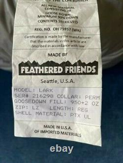 Feathered Friends Lark UL Sleeping Bag with2 Ounces Premium 950+ Down Overfill-NEW
