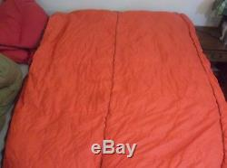 High Adventure Goose Down Sleeping Bag SOFT Rectangular Quilt Bronze Orange USA
