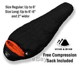 Hyke & Byke Down Sleeping Bag Eolus 800 Fill Power 0 Degree F Bag for