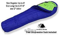 Hyke & Byke Eolus 15°F Sleeping Bag 800 Fill Power Down for Backpacking, NEW
