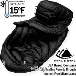 Hyke Byke Quandary 15 Degree F 650 Fill Power Hydrophobic Down Sleeping Bag wi
