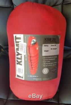 KLYMIT KSB 20 degree DOWN Sleeping Bag RED with stretch baffles NEW