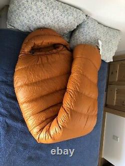 Marmot Lithium 900 Goose Down Sleeping Bag LONG Excellent Condition Orange/Black