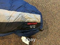 Marmot Sawtooth Sleeping Bag 650 Fill Down Regular Length Right Zipper Blue