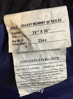 Mountain Hardwear 600 DOWN Sleeping Bag 20 Deg. Galaxy Mummy Reg Right Zip NWOT