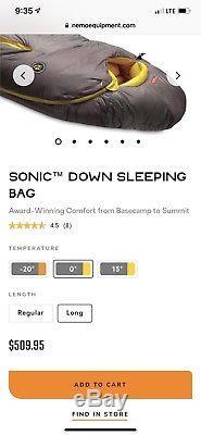 NEMO Sonic 0 Degree Down Sleeping Bag-Long