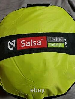 Nemo Salsa 30 Long Down Sleeping Bag 30F 78 Downtek New Charcoal/Key Lime