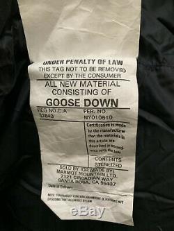 Never Used Marmot 725 Goose Down Purple Sleeping Bag, Massif Long, With Bag