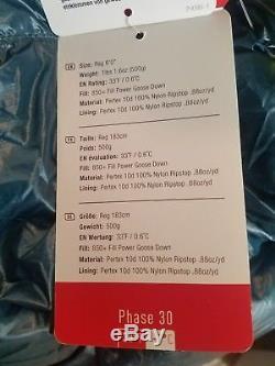 New Marmot Phase 30 sleeping bag 850 Down Defender Pertex shell Reg only 18 oz