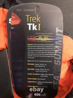 New open box Sea to Summit Trek Tk I Sleeping Bag 650 Fill Regular Right