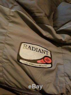REI Radiant sleeping bag with stuff sack Sz Long 0deg F 650 goose down fill