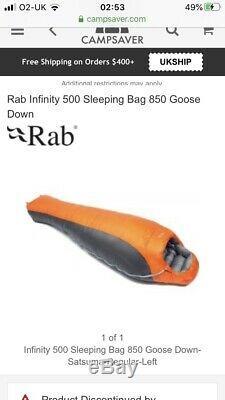 Rab Infinity 500 Sleeping Bag Jacket Down Fill Glanz Orange Nylon Rare Puffer