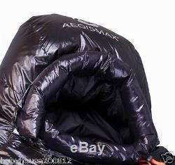Shiny glossy nylon outdoor mummy sleeping bag 1500g goose down filling wet-look