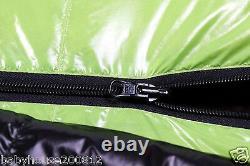 Shiny glossy nylon outdoor mummy sleeping bag 3000g duck down wet-look sport new