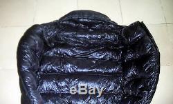 Shiny nylon Down sleeping bag bags 1500g Goose filling wetlook black warm new