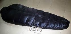 Shiny nylon Down sleeping bag bags 1500g Goose filling wetlook black warm new