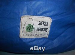 Sierra Designs 0 F Degree Goose Down Sleeping Bag Blue Reg Berkeley CA USA Made