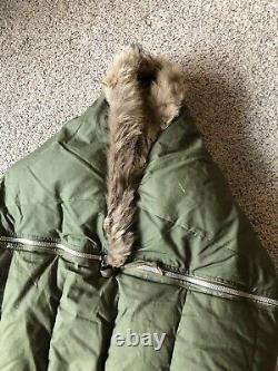 Vintage 1951 US Military Casualty Down Sleeping Bag Fur With US Bag Korean War