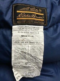Vintage Eddie Bauer Goose Down Sleeping Bag Blue Gold 1970's 32 x 84 CLEAN