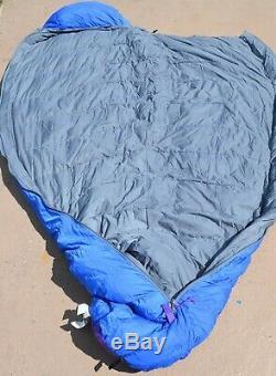 Vintage North Face Goose Down Sleeping Bag Blue Kazoo LG RH Zip 86 x 31 With Bag