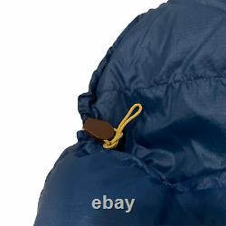 Vintage The North Face Goose Down Mummy Sleeping Bag Blue 89x30 26oz Brown Label
