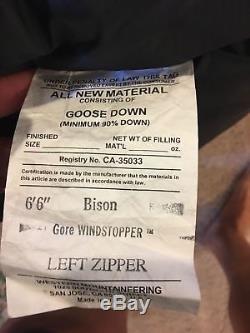 WESTERN MOUNTAINEERING Bison -40° GWS Gore WS Down SLEEPING BAG Long LEFT ZIPPER