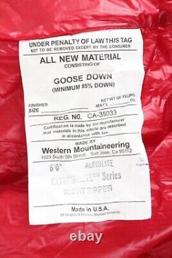 Western Mountaineering Alpinlite Sleeping Bag 20F Down, 6ft/Right Zip /53082/