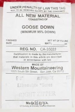 Western Mountaineering Alpinlite Sleeping Bag 20 Deg Down 6ft/Right Zip /39560/