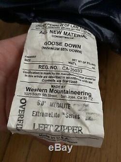 Western Mountaineering Megalite Sleeping Bag 30 Degree Down, 6' Left, Navy Blue